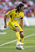 Columbus Crew defender Frankie Hejduk(2) looks for room to cross.  The Chicago Fire tied the Columbus Crew 0-0 at Toyota Park in Bridgeview, IL on July 11, 2009.