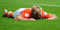 Blackpool's Brad Potts looks dejected after missing a good chance<br /> <br /> Photographer Kevin Barnes/CameraSport<br /> <br /> Football - The EFL Sky Bet League Two - Blackpool v Exeter City - Saturday 6th August 2016 - Bloomfield Road - Blackpool<br /> <br /> World Copyright © 2016 CameraSport. All rights reserved. 43 Linden Ave. Countesthorpe. Leicester. England. LE8 5PG - Tel: +44 (0) 116 277 4147 - admin@camerasport.com - www.camerasport.com