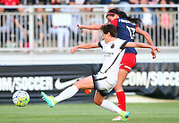 Boyds, MD - Saturday May 07, 2016: Washington Spirit forward Cali Farquharson (17) shoots past Portland Thorns FC defender Meghan Klingenberg (25) during a regular season National Women's Soccer League (NWSL) match at Maureen Hendricks Field, Maryland SoccerPlex. Washington Spirit tied the Portland Thorns 0-0.