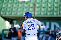 Brock Carpenter (23) of the Ogden Raptors at bat against the Missoula Osprey in Pioneer League action at Lindquist Field on July 13, 2016 in Ogden, Utah. Ogden defeated Missoula 8-2. (Stephen Smith/Four Seam Images)