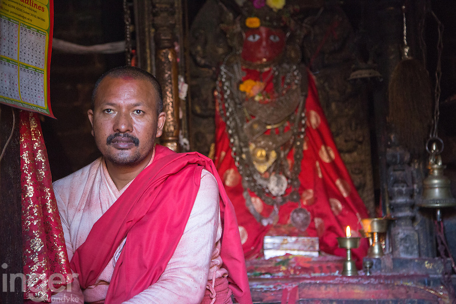 Monk in the Machhendranath Temple at Bungamati, Nepal