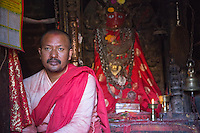 Monk in the Machhendranath Temple at Bungamati, Nepal