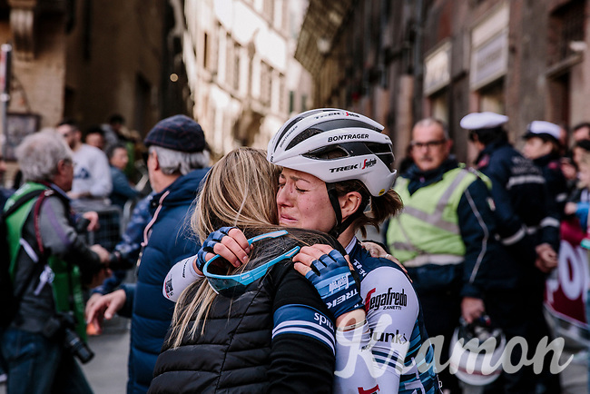 emotions run free after finishing the 5th Strade Bianche WE (1.WWT)<br /> One day race from Siena to Siena (136km)<br /> <br /> ©JojoHarper for kramon