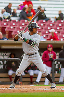Clinton LumberKings outfielder Ricky Eusebio (4) at the plate during a Midwest League game against the Wisconsin Timber Rattlers on May 9th, 2016 at Fox Cities Stadium in Appleton, Wisconsin.  Clinton defeated Wisconsin 6-3. (Brad Krause/Four Seam Images)