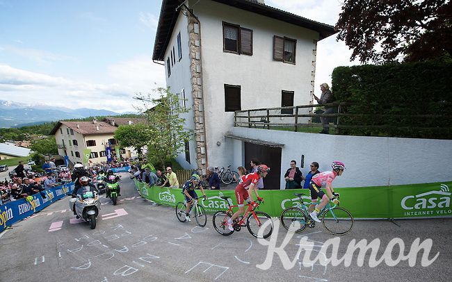 maglia rosa Steven Kruijswijk (NLD/LottoNL-Jumbo) leads the race up the very steep Fai Della Paganella climb (15%) ahead of Ilnur Zakarin (RUS/Katusha) & Alejandro Valverde (ESP/Movistar)<br /> <br /> stage 16: Bressanone/Brixen - Andalo 132km<br /> 99th Giro d'Italia 2016