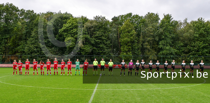 Line up with Standard players, referees and Aalst players before a female soccer game between Standard Femina de Liege and Eendracht Aalst dames on the fourth matchday in the 2021 - 2022 season of the Belgian Scooore Womens Super League , Saturday 11 th of September 2021  in Angleur , Belgium . PHOTO SPORTPIX | BERNARD GILLET
