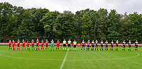 Line up with Standard players, referees and Aalst players before a female soccer game between Standard Femina de Liege and Eendracht Aalst dames on the fourth matchday in the 2021 - 2022 season of the Belgian Scooore Womens Super League , Saturday 11 th of September 2021  in Angleur , Belgium . PHOTO SPORTPIX   BERNARD GILLET