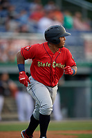State College Spikes Martin Figueroa (22) runs to first base during a NY-Penn League game against the Batavia Muckdogs on July 2, 2019 at Dwyer Stadium in Batavia, New York.  Batavia defeated State College 1-0.  (Mike Janes/Four Seam Images)