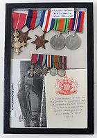 BNPS.co.uk (01202 558833)<br /> Pic: C&TAuctions/BNPS<br /> <br /> Pictured: Lt Bain's medals.<br /> <br /> The medals and personal effects of an unsung hero of D-Day have emerged for sale for £6,000.<br /> <br /> Lieutenant Colonel Douglas Bain trialled the amphibious Duplex Drive tanks ahead of the Normandy landings in June 1944.<br /> <br /> He commanded three DD training schools preparing tanks for sea and river assaults, reporting personally to Field Marshal Bernard Montgomery.<br /> <br /> The dangerous trials, which tested the 'waterproofing' of the amphibious armoured vehicles, were carried out off the south coast of England.