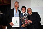 """GIOVANNI MALAGO' CON MATTEO MARZOTTO E CARLO VERDONE  <br /> PRESENTAZIONE DELLA CAMPAGNA """"BIKE TOUR-PEDALANDO"""" DELLA RICERCA FIBROSI CISTICA SU INIZIATIVA DI MATTEO MARZOTTO<br /> CIRCOLO CANOTTIERI ROMA 2014"""