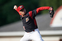 Batavia Muckdogs relief pitcher Ty Provencher (31) during a game against the Hudson Valley Renegades on July 31, 2016 at Dwyer Stadium in Batavia, New York.  Hudson Valley defeated Batavia 4-1. (Mike Janes/Four Seam Images)