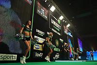 25th May 2021; Marshall Arena, Milton Keynes, Buckinghamshire, England; Professional Darts Corporation, Unibet Premier League Night 14 Milton Keynes; The cheerleaders dance as Dimitri Van den Bergh walks out onto the stage