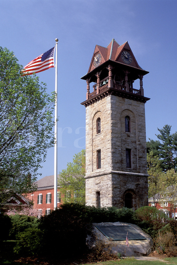 chime tower, Stockbridge, Massachusetts, The Berkshires, Field Chime Tower and U.S. Flag in Stockbridge in the spring.
