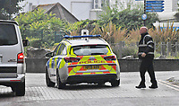 BNPS.co.uk (01202) 558833.<br /> Pic: BNPS<br /> <br /> Pictured: A Police vehicle drives into Rockley Park on the first day of the search for Callum Osborne-Ward. <br /> <br /> There are fresh calls for a holiday park to increase safety measures at a notorious beach where one swimmer has drowned and almost 20 children rescued this summer. <br /> <br /> In the latest incident a dad and his two young sons were plucked to safety in the nick of time after they were swept away by a rip tide at Rockley Park in Poole Harbour, Dorset.<br /> <br /> It happened a month after hero swimmer Callum Baker-Osborne, 18, drowned while helping to rescue 13 children at the same spot.<br /> <br /> And before that two young girls were saved from drowning by a paddleboarder.