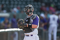 Winston-Salem Dash catcher Zack Collins (30) warms up his starting pitcher prior to the game against the Potomac Nationals at BB&T Ballpark on July 15, 2016 in Winston-Salem, North Carolina.  (Brian Westerholt/Four Seam Images)