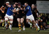 Photo: Richard Lane/Richard Lane Photography. London Wasps v Leinster Rugby. Amlin Challenge Cup Quarter Final. 05/04/2013. Wasps' Chris Bell attacks.