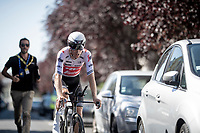comical scetch of the day: Bauke Mollema  (NED/Trek-Segafredo) followed closely by a (running) doping chaperone during his (very long) roll out (and back) after the stage<br /> <br /> Stage 13 (ITT): Pau to Pau(27km)<br /> 106th Tour de France 2019 (2.UWT)<br /> <br /> ©kramon