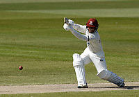 16th April 2021; Emirates Old Trafford, Manchester, Lancashire, England; English County Cricket, Lancashire versus Northants; Ricardo Vasconcelos of Northamptonshire hits through the off side