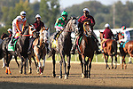 September 07, 2015. Turf Monster post parade: Pure Sensation (#4, green cap), Kendrick Carmouche up, wins the Grade III Turf Monster Handicap Stakes, five furlongs, for three-year-olds and upward, at  Parx Racing in Bensalem, PA. Trainer is Christophe Clement; owner is Patricia Generazio. (Joan Fairman Kanes/ESW/CSM)