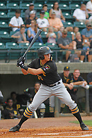 Bristol Pirates outfielder Conner Uselton (25) at bat during a game against the Greeneville Reds at Pioneer Field on June 19, 2018 in Greeneville, Tennessee. Bristol defeated Greeneville 10-2. (Robert Gurganus/Four Seam Images)