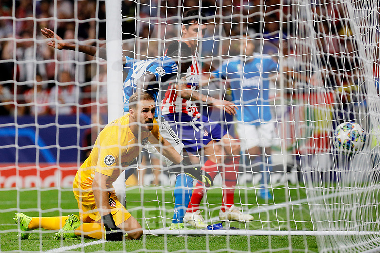 Jan Oblak of Atletico de Madrid defeated and Blaise Matuidi of Juventus celebrates goal during UEFA Champions League match between Atletico de Madrid and Juventus at Wanda Metropolitano Stadium in Madrid, Spain. September 18, 2019. (ALTERPHOTOS/A. Perez Meca)