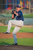 Helena Brewers starting pitcher J.B. Kole (10) delivers a pitch to the plate against the Ogden Raptors in Pioneer League action at Lindquist Field on August 19, 2015 in Ogden, Utah. Ogden defeated Helena 4-2.  (Stephen Smith/Four Seam Images)