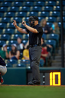 Umpire Matt Carlyon during an Eastern League game between the Binghamton Rumble Ponies and Richmond Flying Squirrels on May 29, 2019 at The Diamond in Richmond, Virginia.  Binghamton defeated Richmond 9-5 in ten innings.  (Mike Janes/Four Seam Images)