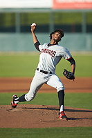 Hickory Crawdads starting pitcher Tyree Thompson (13) in action against the Kannapolis Intimidators at Kannapolis Intimidators Stadium on May 2, 2018 in Kannapolis, North Carolina.  The Intimidators defeated the Crawdads 9-6.  (Brian Westerholt/Four Seam Images)