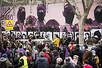 MADRID, SPAIN – MARCH 08: A group of people demonstrate in front of the feminist mural that has been sabotaged the night before 8M in the Ciudad Lineal neighborhood on 8 march in Madrid, Spain. Various demonstrations and protests have been carried out to celebrate and commemorate the international day of working women that is celebrated every year on March 8. (Photo by Joan Amengual / VIEWpress via Getty Images)