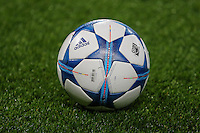 A UEFA Champions League Match Ball ahead of the UEFA Champions League match between Chelsea and Maccabi Tel Aviv at Stamford Bridge, London, England on 16 September 2015. Photo by David Horn.