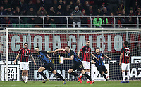 Calcio, Serie A: AC Milan - Inter Milan, Giuseppe Meazza (San Siro) stadium, Milan on 17 March 2019.  <br /> Inter's Stefan De Vrij (second from left) celebrates after scoring with his teammates during the Italian Serie A football match between Milan and Inter Milan at Giuseppe Meazza stadium, on 17 March 2019. <br /> UPDATE IMAGES PRESS/Isabella Bonotto