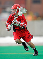 1 April 2008: Fairfield University Stags' Attackman Doug Kuring, a Freshman from New Milford, CT, in action against the University of Vermont Catamounts at Moulton Winder Field, in Burlington, Vermont. The Catamounts rallied to overcome a five goal deficit and defeat the visiting Stags 9-8 notching their third win of the season...Mandatory Photo Credit: Ed Wolfstein Photo