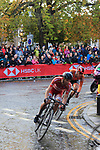 The lead group featuring Nils Eekhoff (NED) on the Harrogate circuit during the Men U23 Road Race of the UCI World Championships 2019 running 186.9km from Doncaster to Harrogate, England. 27th September 2019.<br /> Picture: Andy Brady | Cyclefile<br /> <br /> All photos usage must carry mandatory copyright credit (© Cyclefile | Andy Brady)