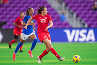 ORLANDO, FL - FEBRUARY 24: Lindsay Agnew #22 of the CANWNT kicks the ball during a game between Brazil and Canada at Exploria Stadium on February 24, 2021 in Orlando, Florida.