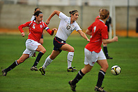 USA's Yael Averbuch attacks Norway.  The USA defeated Norway 2-1 at Olhao Stadium on February 26, 2010 at the Algarve Cup.