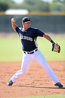 Seattle Mariners third baseman Joe DeCarlo (2) during practice before an Instructional League game on October 4, 2013 at Peoria Sports Complex in Peoria, Arizona.  (Mike Janes/Four Seam Images)