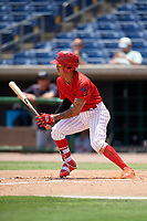 Clearwater Threshers shortstop Arquimedes Gamboa (7) follows through on a swing during a game against the Lakeland Flying Tigers on May 2, 2018 at Spectrum Field in Clearwater, Florida.  Clearwater defeated Lakeland 7-5.  (Mike Janes/Four Seam Images)