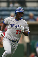 April 27 2008:  Chris Carter of the Stockton Ports runs the bases against the Rancho Cucamonga Quakes at The Epicenter in Rancho Cucamonga,CA.  Photo by Larry Goren/Four Seam Images