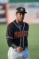 Luis Jean (3) of the Modesto Nuts before a game against the Inland Empire 66ers at San Manuel Stadium on May 20, 2016 in San Bernardino, California. Inland Empire defeated Modesto, 4-2. (Larry Goren/Four Seam Images)