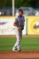 Grand Junction Rockies shortstop Julio Carreras (2) during a Pioneer League game against the Grand Junction Rockies at Dehler Park on August 15, 2019 in Billings, Montana. Billings defeated Grand Junction 11-2. (Zachary Lucy/Four Seam Images)