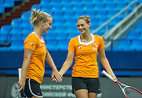Moskou, Russia, Februari 4, 2016,  Fed Cup Russia-Netherlands,  Dutch team practise doubles Cindy Burger and Richel Hogenkamp (L)<br /> Photo: Tennisimages/Henk Koster