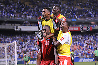 Panama Luis Tejada (18) celebrates the victory after scoring the last penalty kick with team mates.   Panama defeated El Salvador in penalty kicks 5-3 in the quaterfinals for the 2011 CONCACAF Gold Cup , at RFK Stadium, Sunday June 19, 2011.