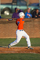 Forrest Ridenhour (7) of the Glenn Bobcats follows through on his swing against the Mallard Creek Mavericks at Dale Ijames Stadium on March 22, 2017 in Kernersville, North Carolina.  The Bobcats defeated the Mavericks 12-2 in 5 innings.  (Brian Westerholt/Four Seam Images)