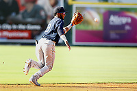 Mobile BayBears shortstop Brennon Lund (8) fields the ball during the game against the Chattanooga Lookouts on June 3, 2018 at AT&T Field in Chattanooga, Tennessee. (Andy Mitchell/Four Seam Images)