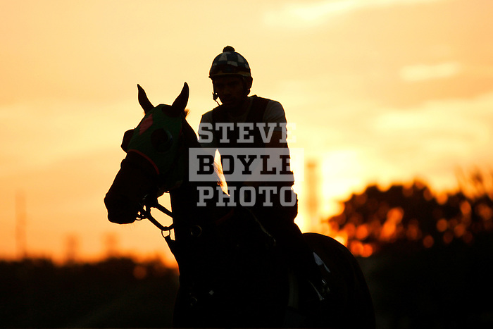A jockey and horse walk the track during a morning workout at Churchill Downs in Louisville, Kentucky on May 4, 2006...