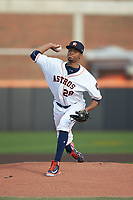 Buies Creek Astros starting pitcher Jorge Alcala (28) in action against the Frederick Keys at Jim Perry Stadium on April 28, 2018 in Buies Creek, North Carolina. The Astros defeated the Keys 9-4.  (Brian Westerholt/Four Seam Images)