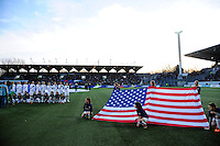 Lorient, France. - Sunday, February 8, 2015: USA players during the playing of the national anthem. France defeated the USWNT 2-0 during an international friendly at the Stade du Moustoir.