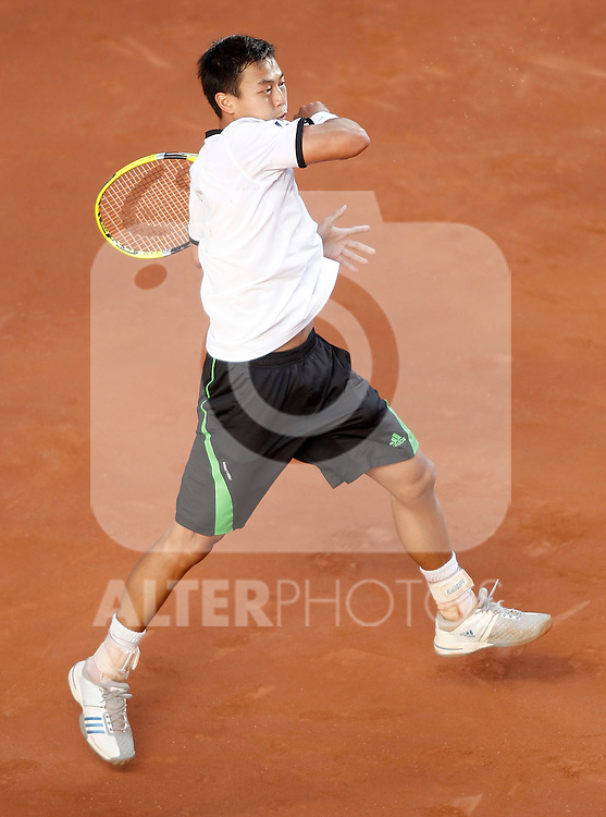 Yen-Hsun Lu during Madrid Open Tennis tournament Match. May 03, 2011. (ALTERPHOTOS/Alvaro Hernandez)