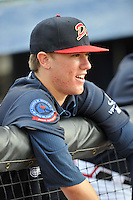 Pitcher Kolby Allard (22) of the Danville Braves prior to in a game against the Johnson City Cardinals on Friday, July 1, 2016, at Legion Field at Dan Daniel Memorial Park in Danville, Virginia. Johnson City won, 1-0. (Tom Priddy/Four Seam Images)