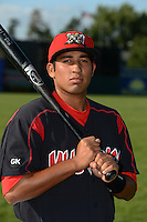 Batavia Muckdogs third baseman Juan Avila (44) poses for a photo before a game against the Williamsport Crosscutters on September 4, 2013 at Dwyer Stadium in Batavia, New York.  Williamsport defeated Batavia 6-3 in both teams season finale.  (Mike Janes/Four Seam Images)